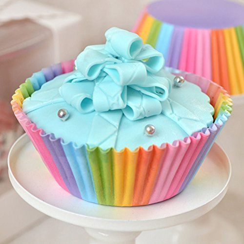 Jomtop 100pcs Rainbow Paper Cakecup Muffin Cup Cream Topper Baking