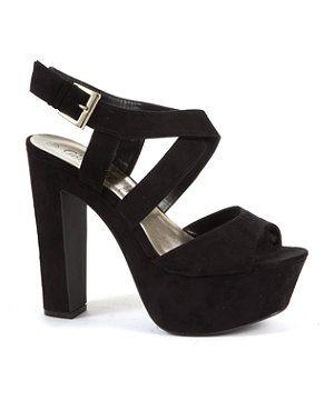 Black Chunky Strap Platform Heels