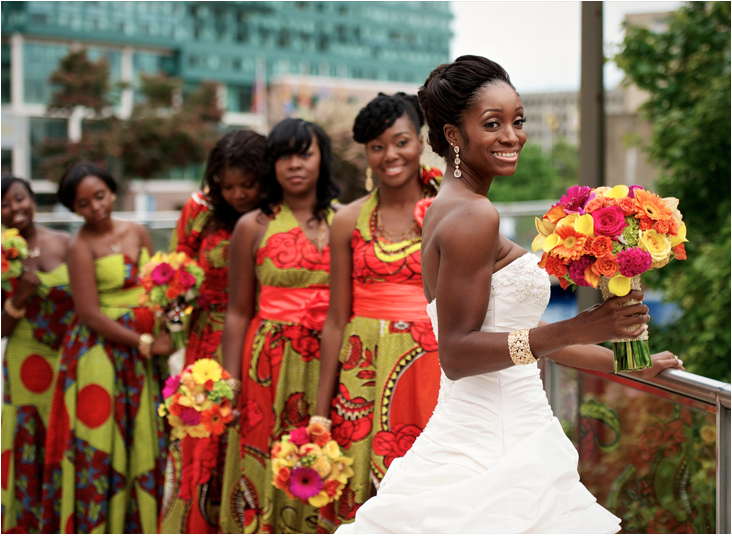 Never Thought Of This Idea But Love The Bridesmaids In Ankara Wax Print Dresses So On Trend African Wedding Dress African Wedding African Inspired Wedding