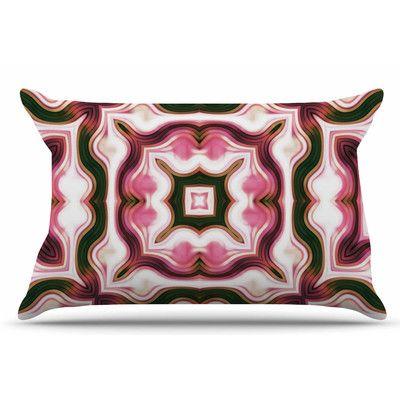 East Urban Home Vintage Flower Pattern by Dawid Roc Pillow Sham Size: Standard, Color: Pink