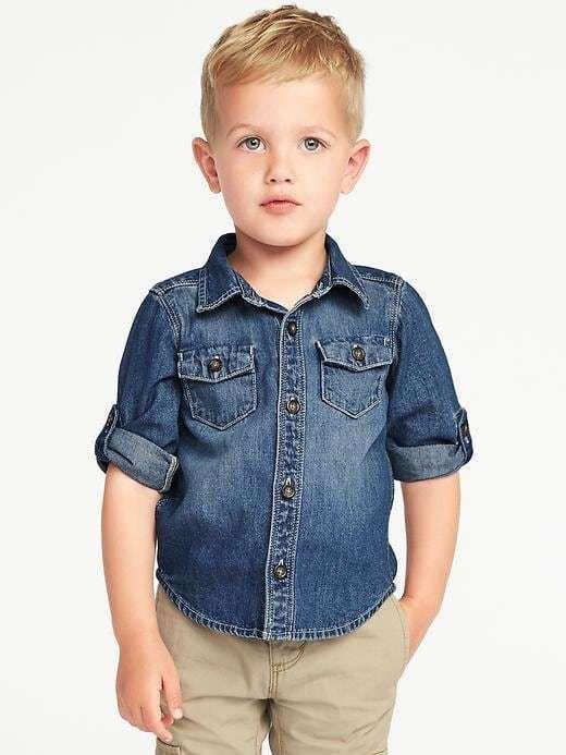 df6872a80 Old Navy Rolled-Sleeve Denim Shirt for Toddler Boys   Elijah Charles ...