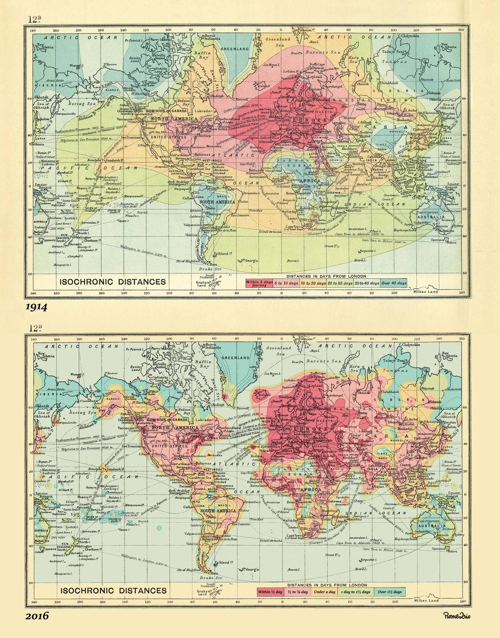 A 2016 version of the 1914 isochronic londonworld travel times map a 2016 version of the 1914 isochronic londonworld travel times map oc by r2r in dataisbeautiful gumiabroncs Choice Image