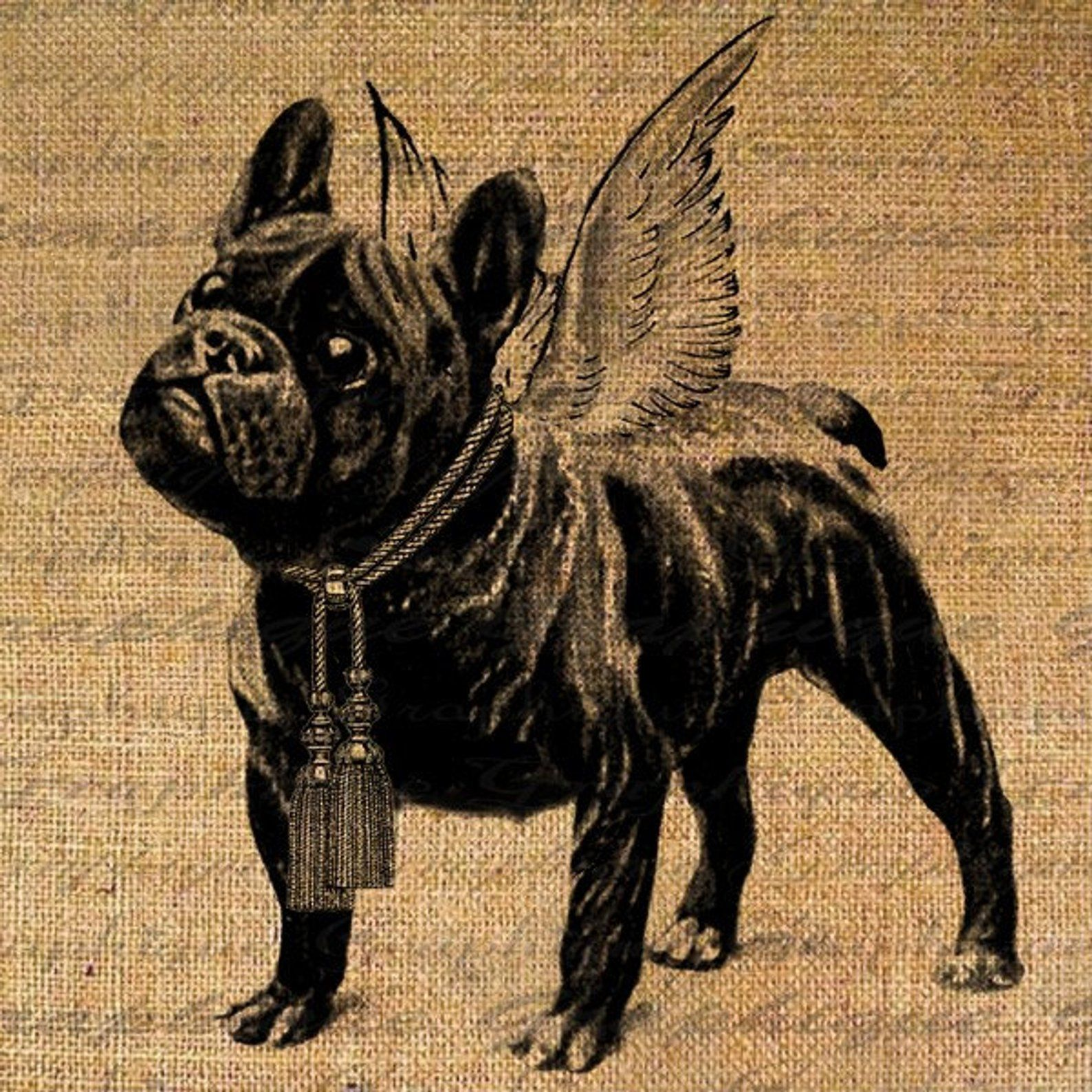 French Bulldog Angel Wings Tassels Dog Puppy Digital Image Etsy