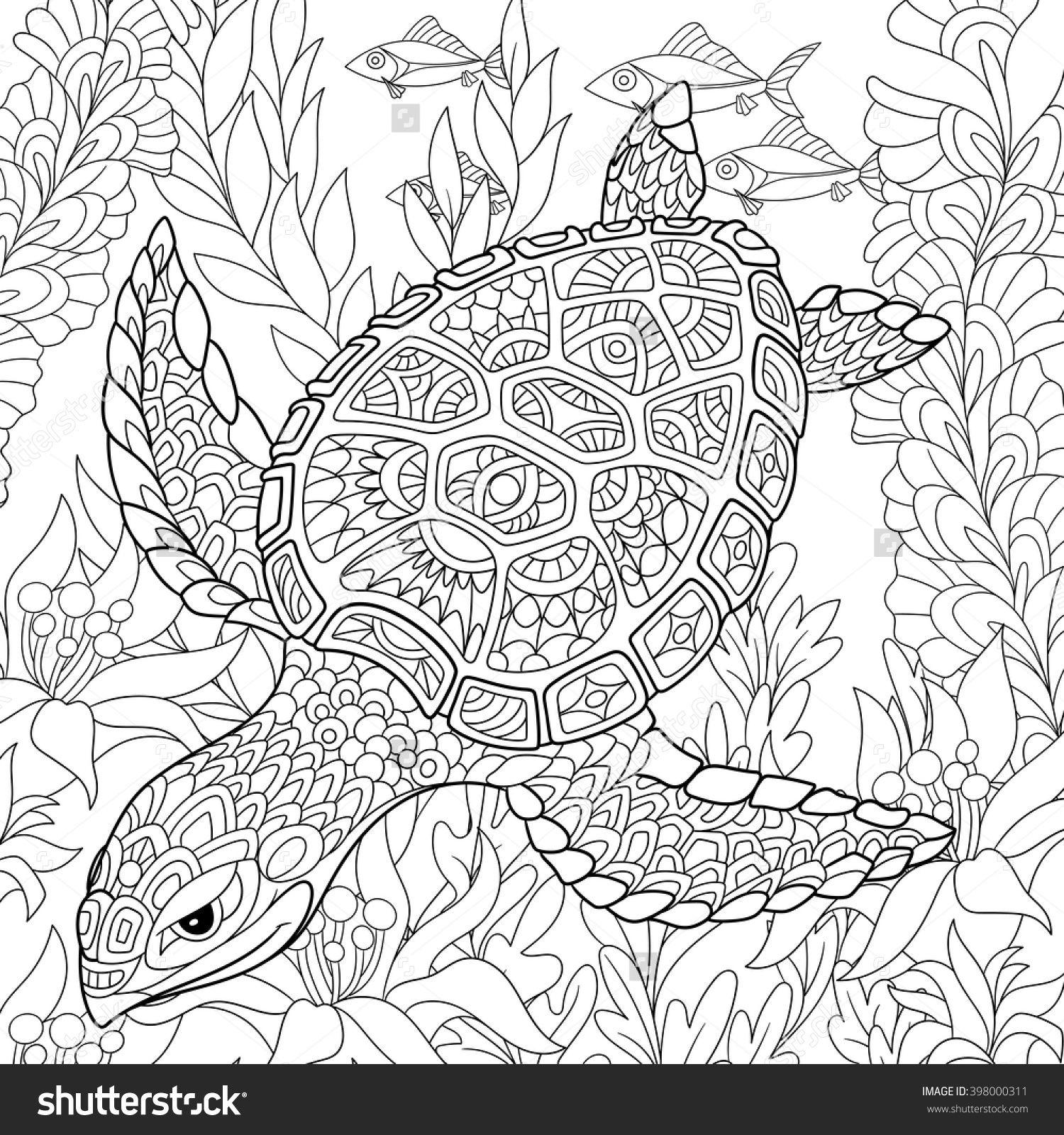 stock-vector-zentangle-stylized-cartoon-turtle-swimming-among-sea ...