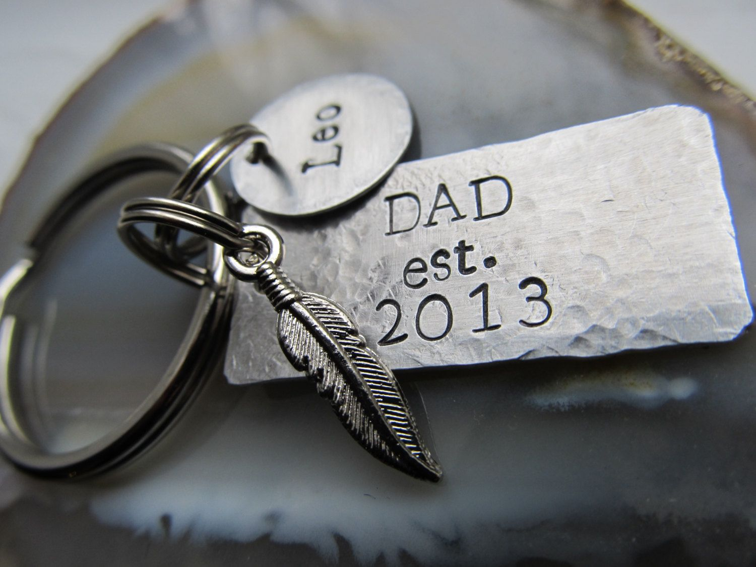 First Time Dad Gifts Part - 35: Personalized Dad Keychain Feather Charm Keyring Fathers Day Gift Mothers  Day Gift Gift For Him First Time Dad Gift
