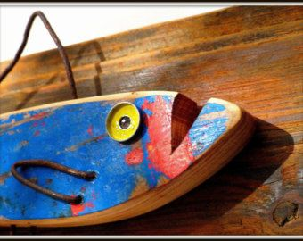 """Fish painted driftwood and metal, """"Funky fish"""""""