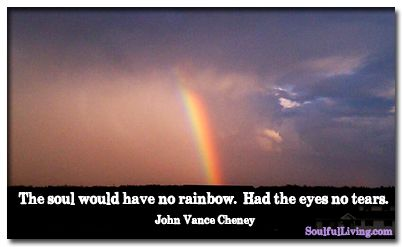 """""""The soul would have no rainbow. Had the eyes no tears."""" —John Vance Cheney http://www.soulfulliving.com"""