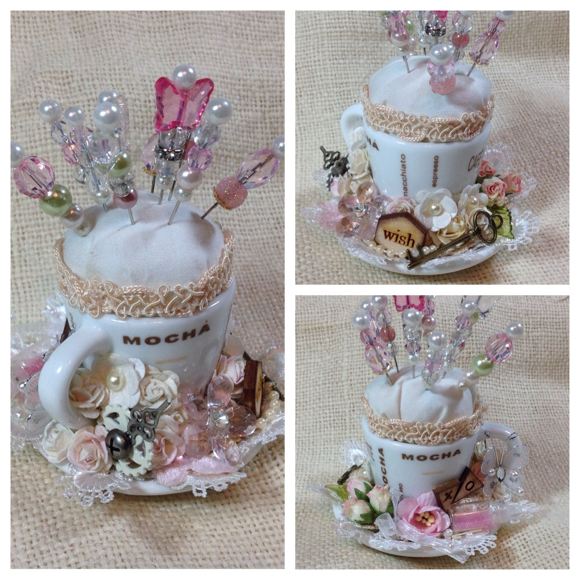 Shabby Chic Pin Cushion using miniature teacup/saucer