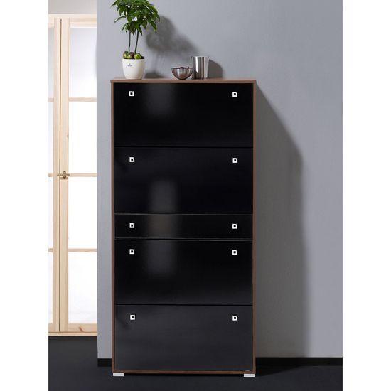 Milano Hi Gloss Black Shoe Storage Cabinet