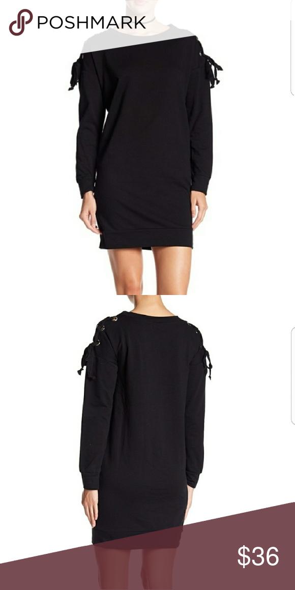 Bobeau Sweatshirt Dress Black Grommet. Lace up tie sleeve. Brand new.  (G4-2) bobeau Dresses 13b7d7778