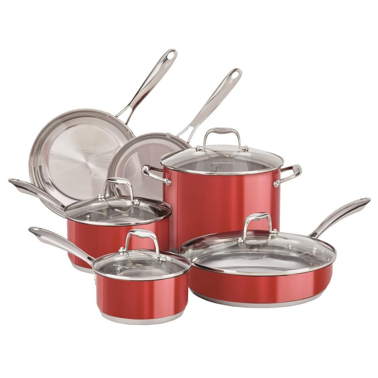 Cookware set red cookware set stainless steel