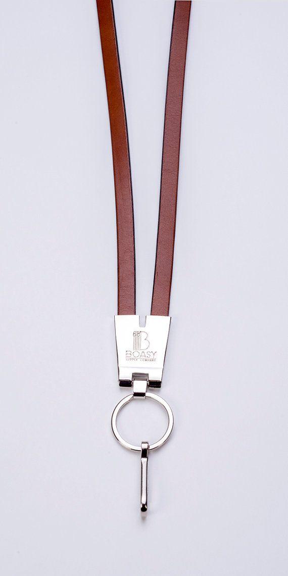 Leather Wrist Neck Strap Lanyard Wristlet For ID Card Badge Keys Holder