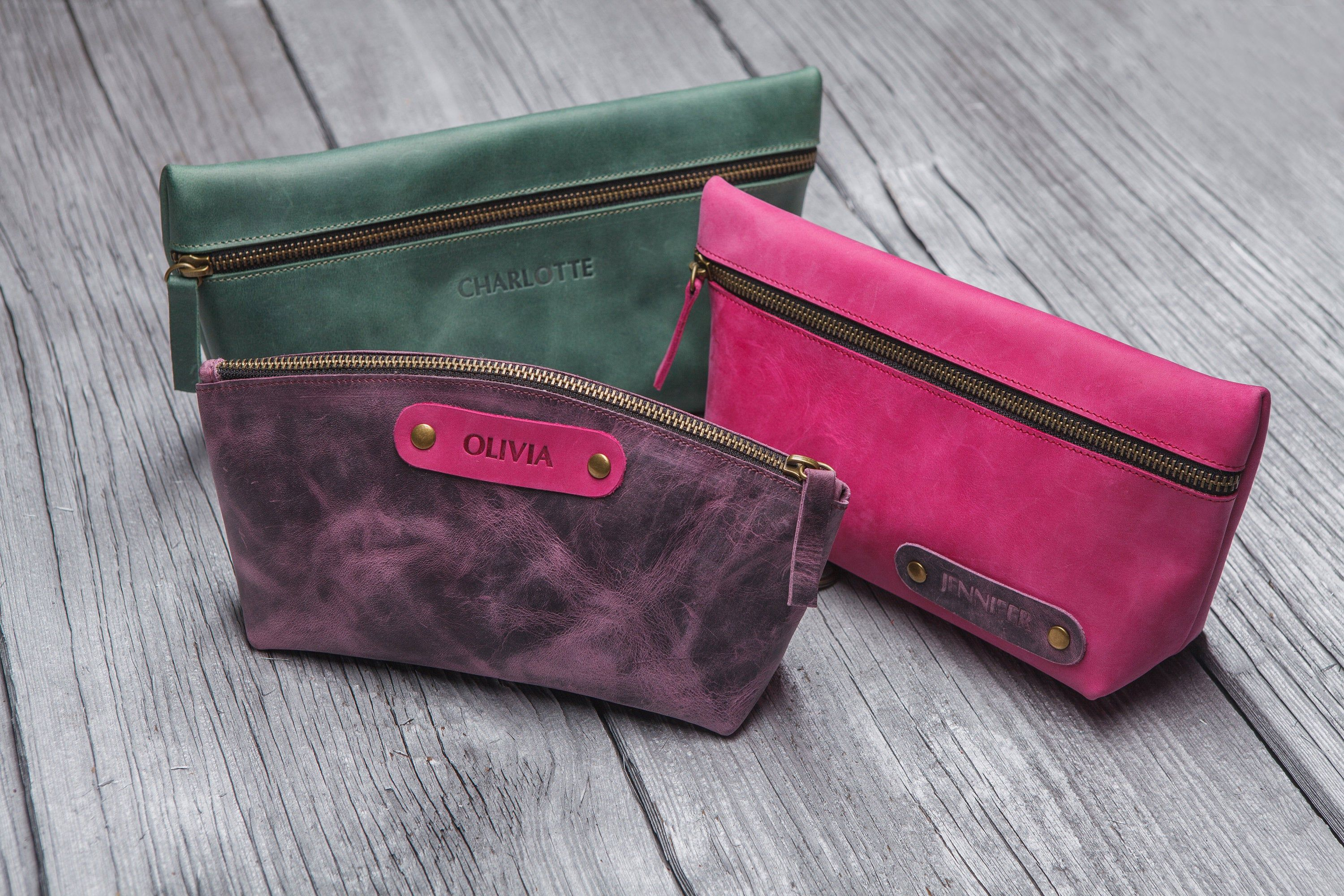 Bridesmaid makeup bag, personalized leather cosmetic bag