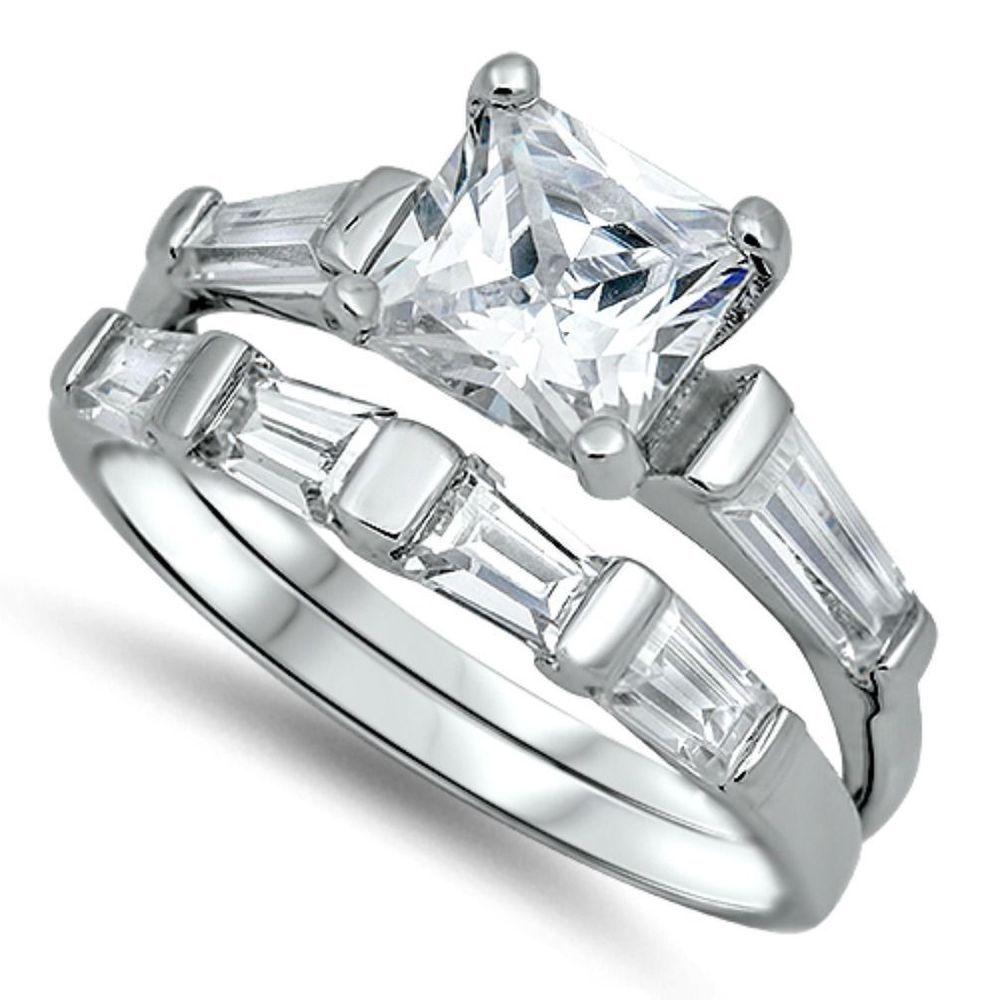 925 Sterling Silver Wedding Ring Set CZ Princess Cut Engagement ...
