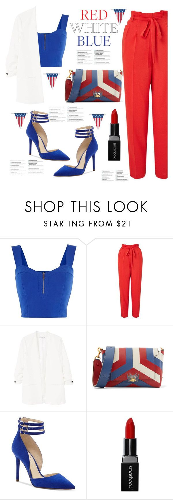 """""""Red, White & Blue: Celebrate The 4th!"""" by blackadonia ❤ liked on Polyvore featuring Karen Millen, Miss Selfridge, MANGO, Anya Hindmarch, Jessica Simpson, Smashbox and fourthofjuly"""