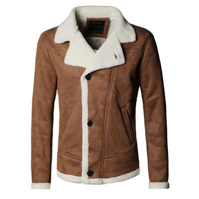 2339e5e07cdf 2016 Autumn vintage old leather jacket men wool lining men warm fur collar  jacket Mens Faux