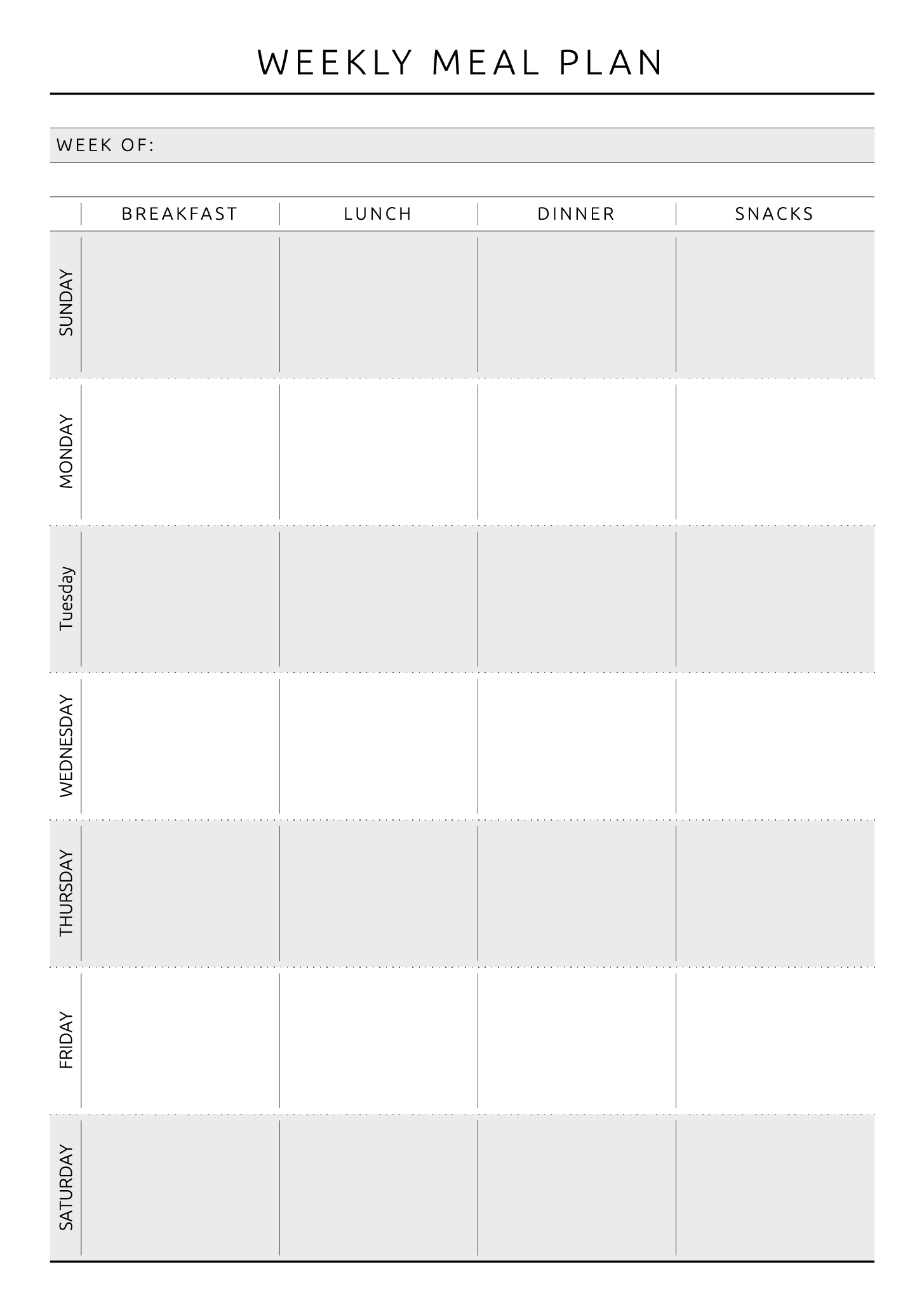 Weekly Meal Plan - Original Style (With images) | Weekly ...