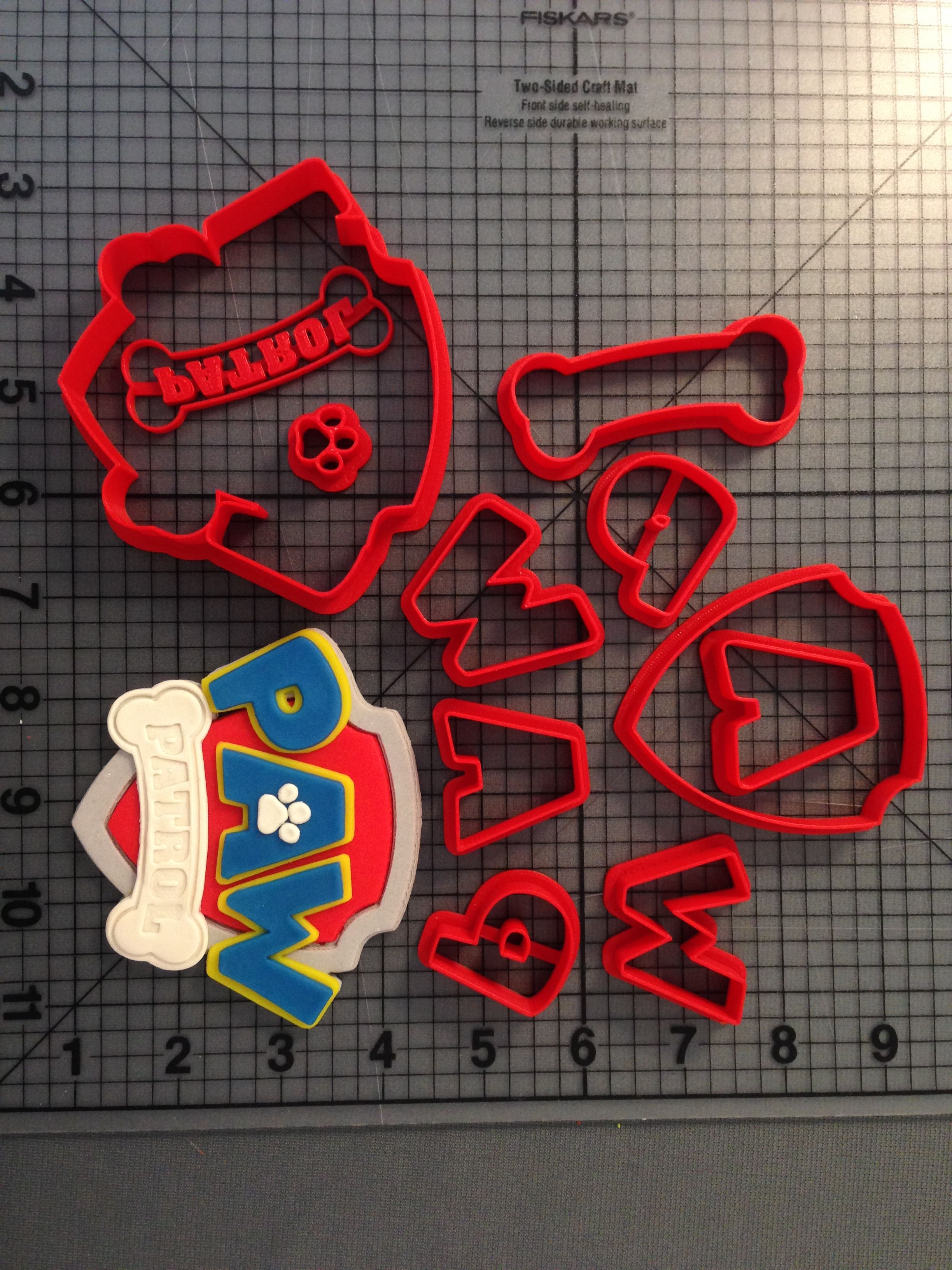 Paw Patrol Logo Emblem Cookie Cutter Stamp Fondant Birthday Cake Mold Pastry Set