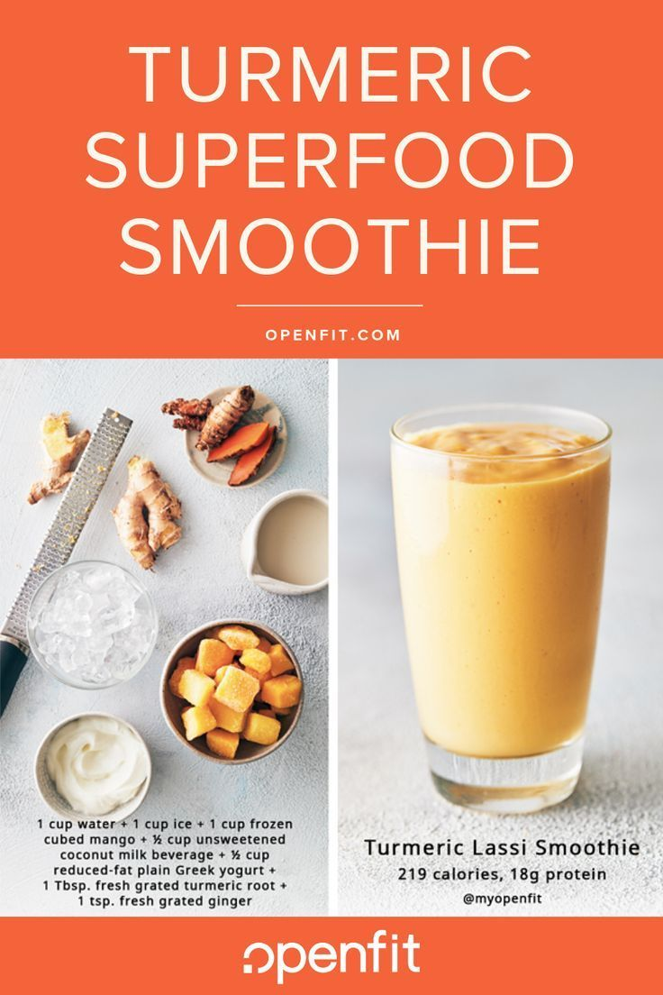 You've probably heard of golden milk, the popular drink made with turmeric, spices, plant-based milk, and honey. This smoothie recipe takes it up a notch by blending in yogurt, mango, and coconut milk for a thicker, creamier consistency — similar to a mango lassi.