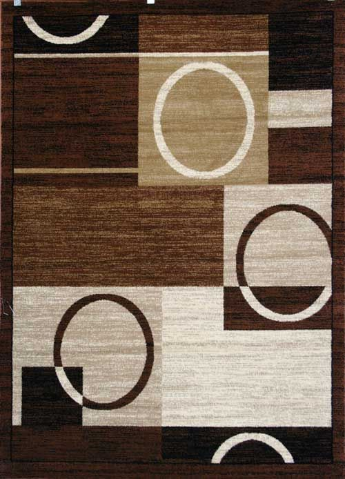 New City Brand Contemporary Brown And Beige Modern Squares Circles Area Rug 2 X Made In Turkey No Fringe For Clean Design