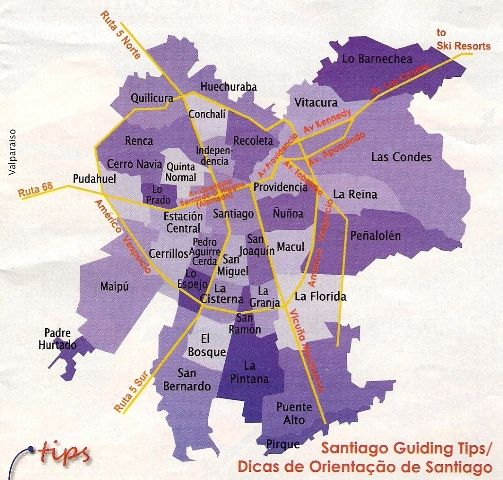 Santiago Comunas Map Welcome To Chile Leilani Mike Cuba Tours