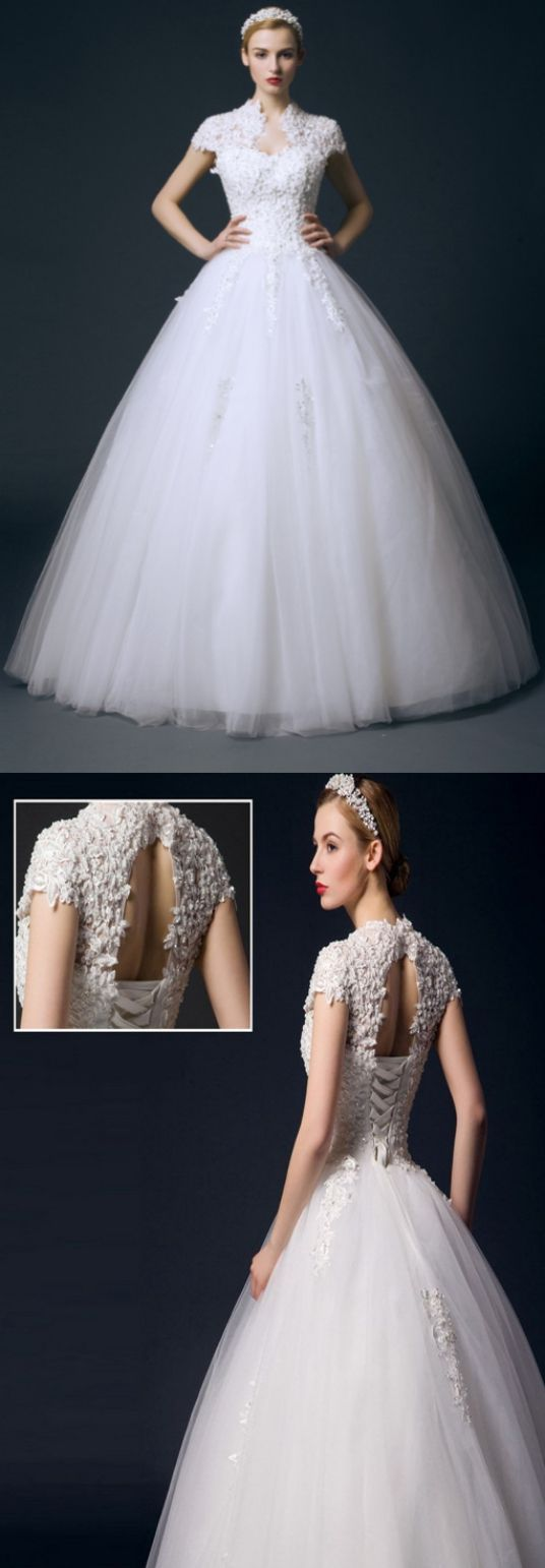 Lace cap sleeve a line wedding dress  Customized Dazzling White Wedding Dresses Long Wedding Dresses Cap