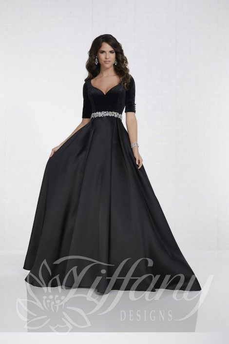 4088f017dd45 Style 16287 from Tiffany Designs is a ball gown with three quarter sleeves