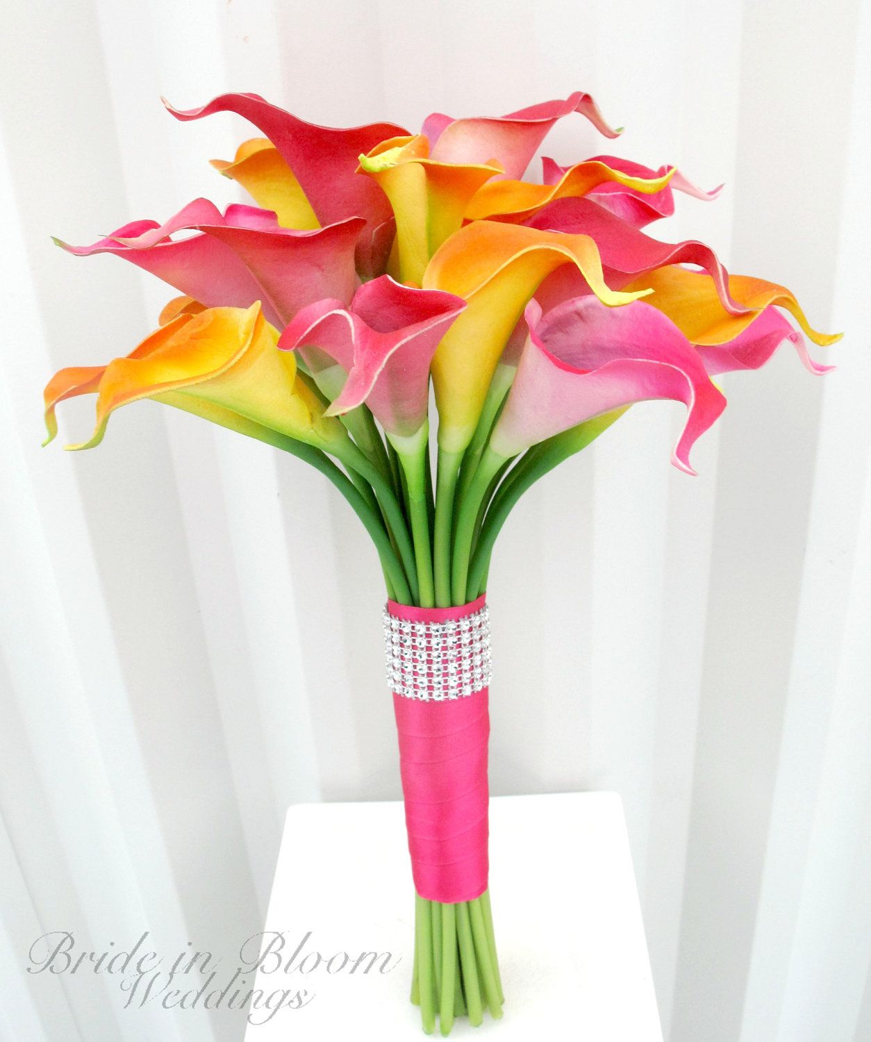 Bouquets wedding bride pinterest tropical wedding bouquets wedding bouquet real touch calla lily bridal bouquet hot pink orange bridal flowers via etsy just ribbon around the flowers izmirmasajfo