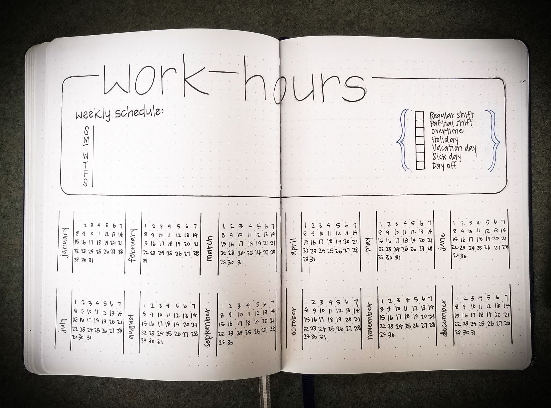 work schedule hours tracker bullet journal by karen fritsche
