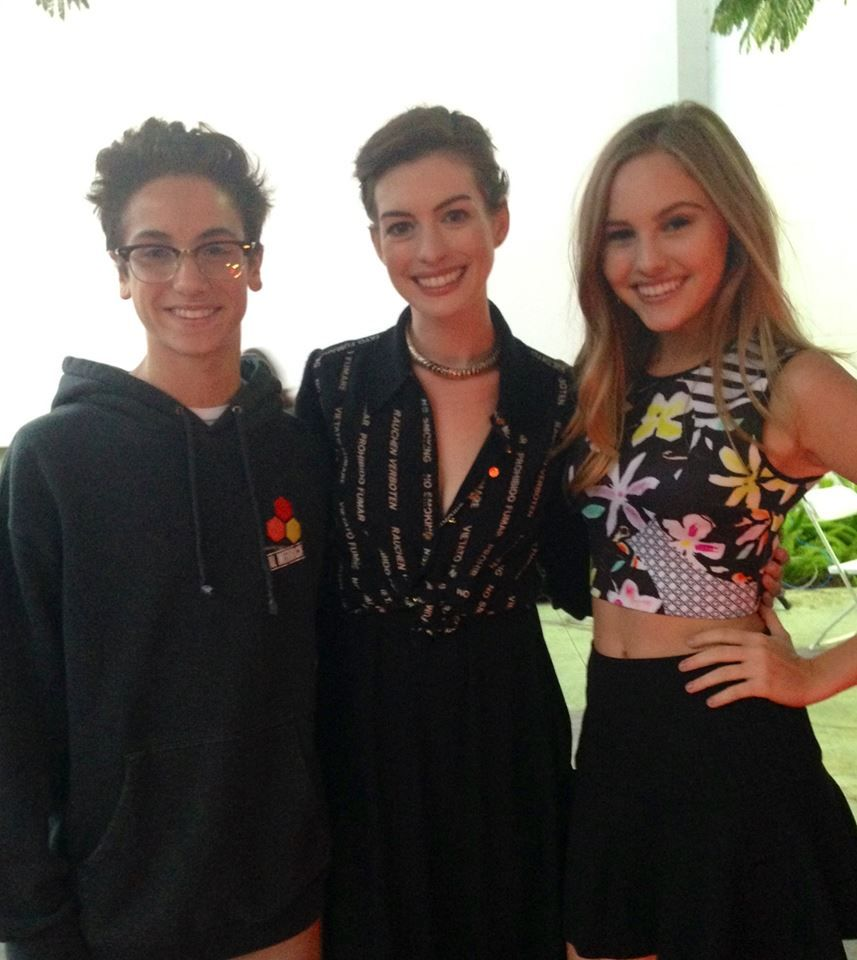 Anne Hathaway Ziegfeld Theatre: Teo Halm And Ella Wahlestedt With Anne Hathaway At The