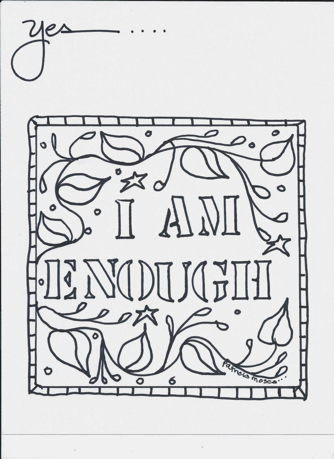 I Am Enough Coloring Pages