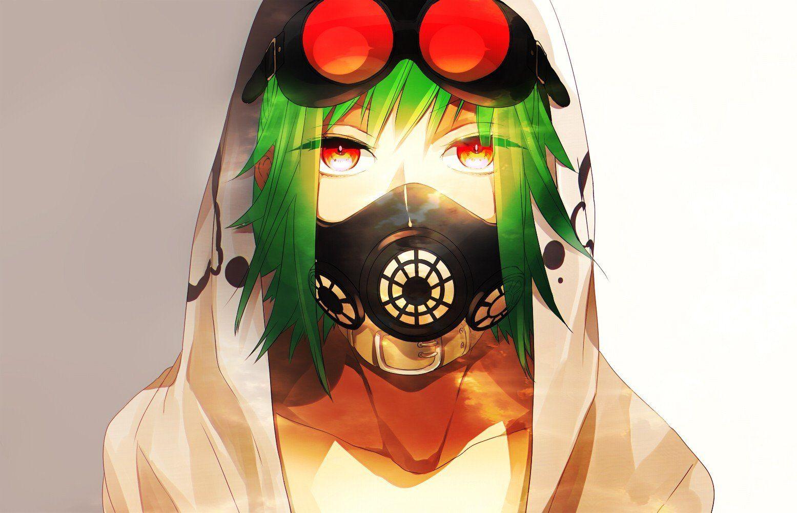 Anime Girls Gas Masks Goggles Green Hair Megpoid Gumi Red Eyes