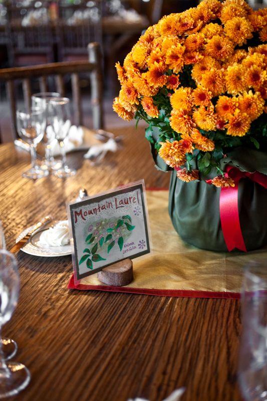 Rustic Fall Maryland Wedding Mums Centerpiece 275x412 Beth Jeff S Outdoor