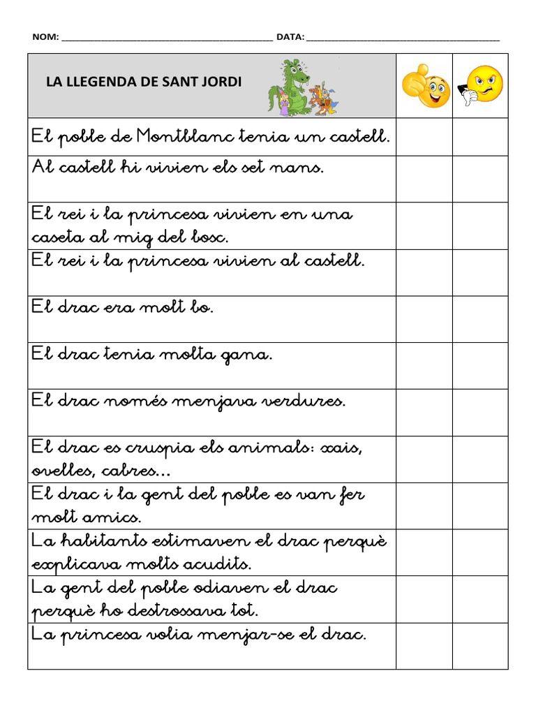 Comprensió Llegenda Sant Jordi Free download as PDF File