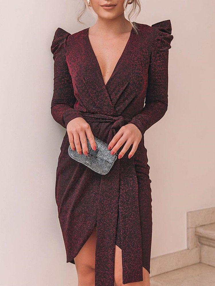 Shiny Ruched Tie Waist Wrap Irregular Dress Long Sleeve Dresses Fall Women Long Sleeve Dress Mini Dress Party