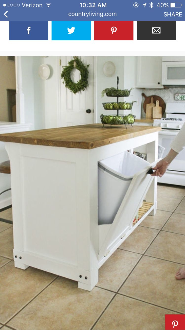 Kitchen island with hidden trash can | House | Pinterest