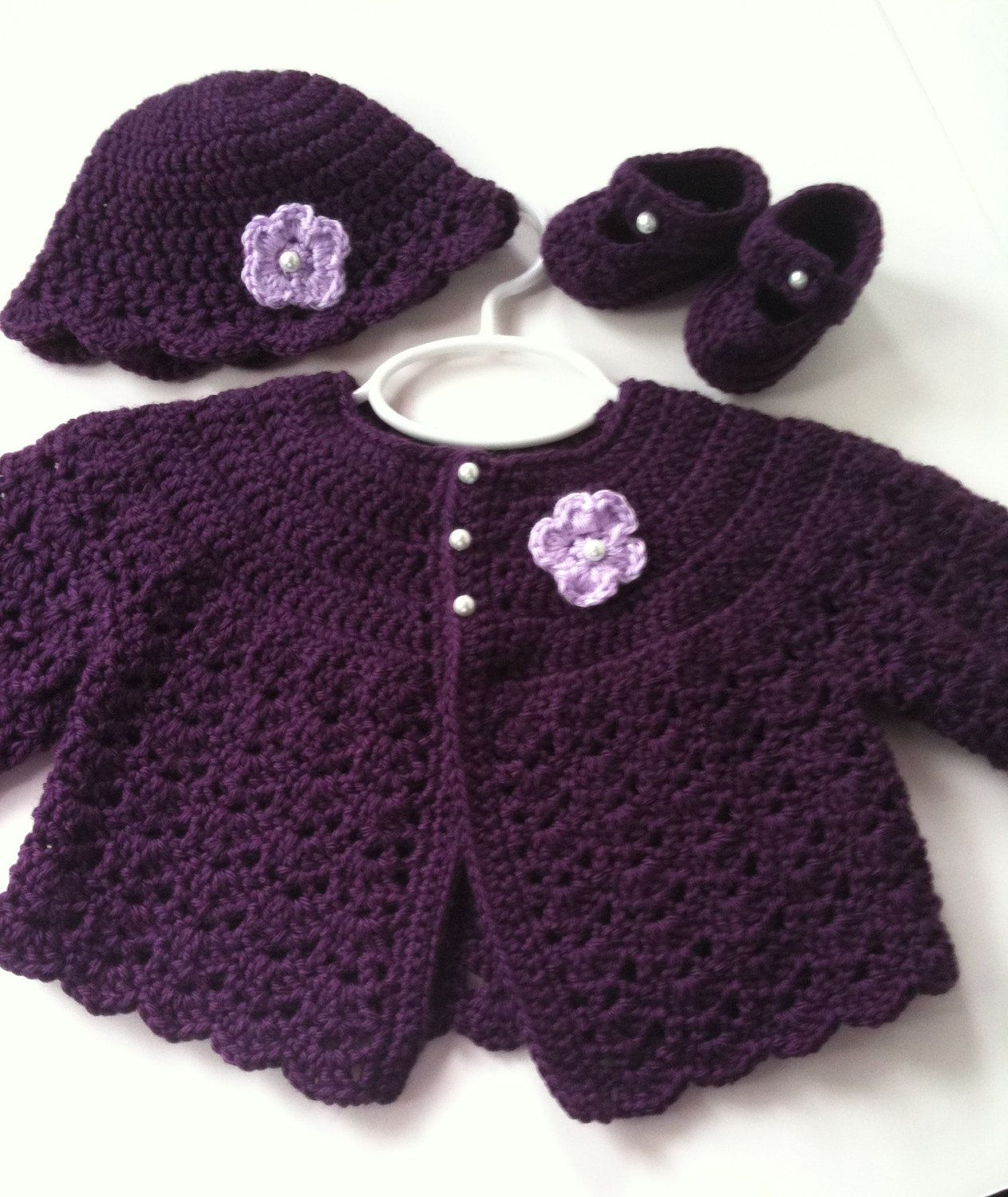 ad79f477b377 Crochet Baby Sweater Hat Booties Set Plum 0 to 3 months.  42.00