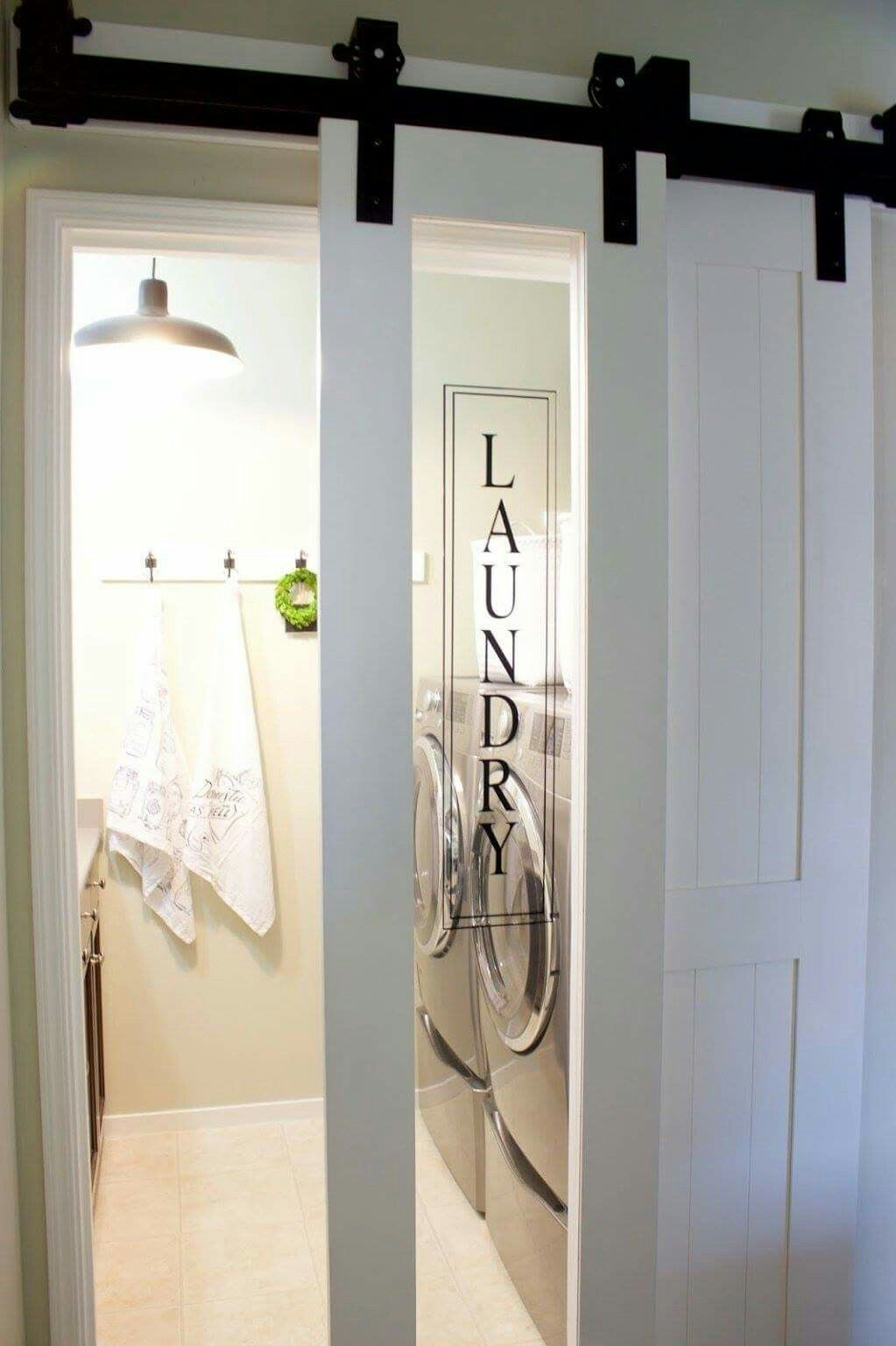 Laundry room barn door, maybe frosted ?
