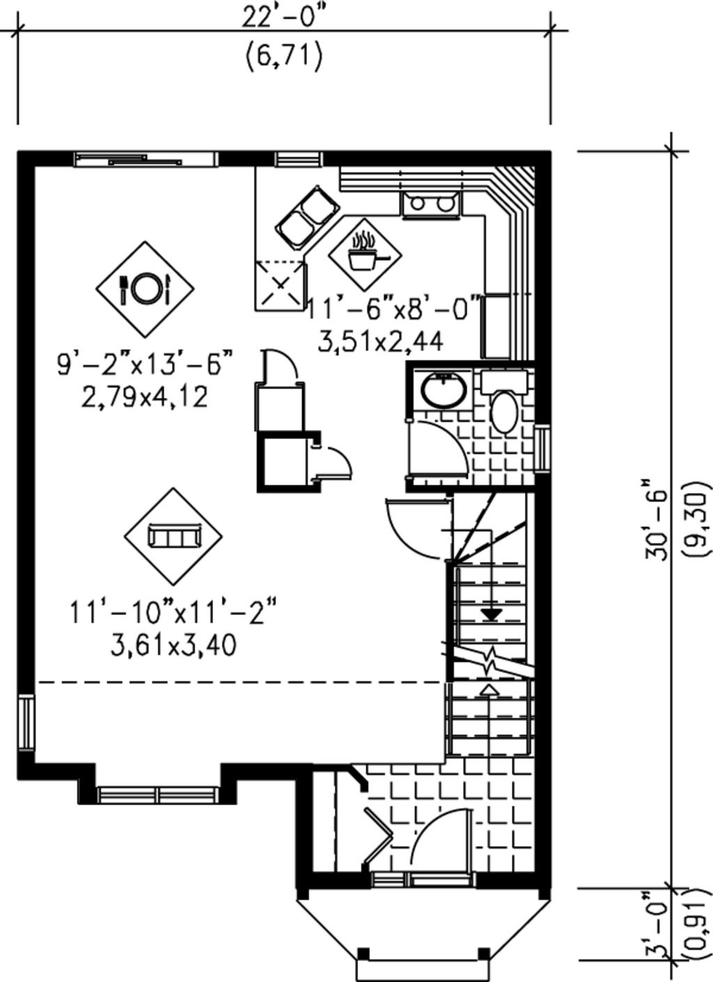 Cottage Style House Plan 2 Beds 1 5 Baths 1110 Sq Ft Plan 25 2039 Cottage Style House Plans House Plans Floor Plan Design