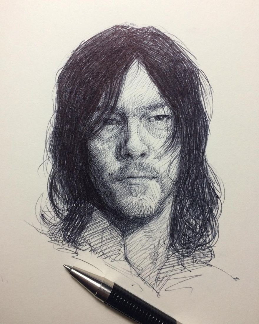 Moleskine Sketches Of Celebrities And Other Portraits Walking Dead Drawings The Walking Dead Cool Sketches
