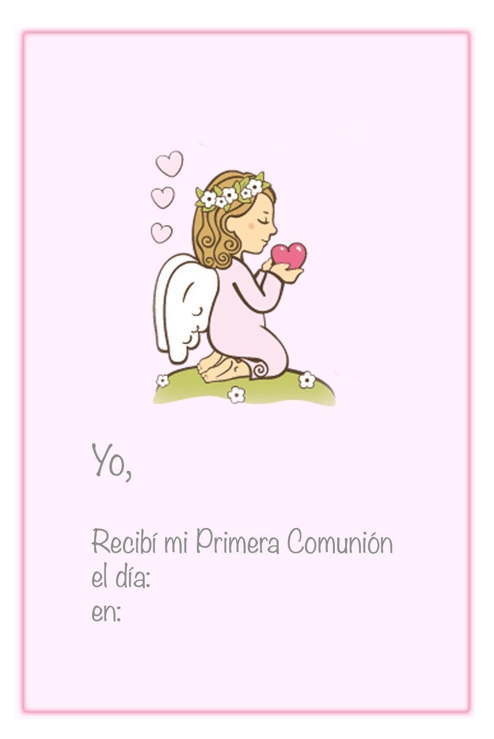 Recordatorio de la primera comuni n para imprimir con un ngel rezando sobre fondo rosa http - Recordatorios de comunion para imprimir ...
