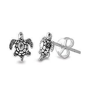 1x Piece of Sterling Silver Sea Turtle Post Stud Earring