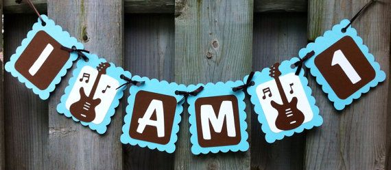 Elegant I Am Rock And Roll Theme High Chair Banner Birthday Decorations Baby Blue With Decoration
