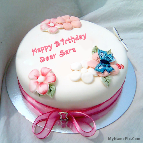 The Name Dear Sara Is Generated On Birthday Cake For Sister With Image