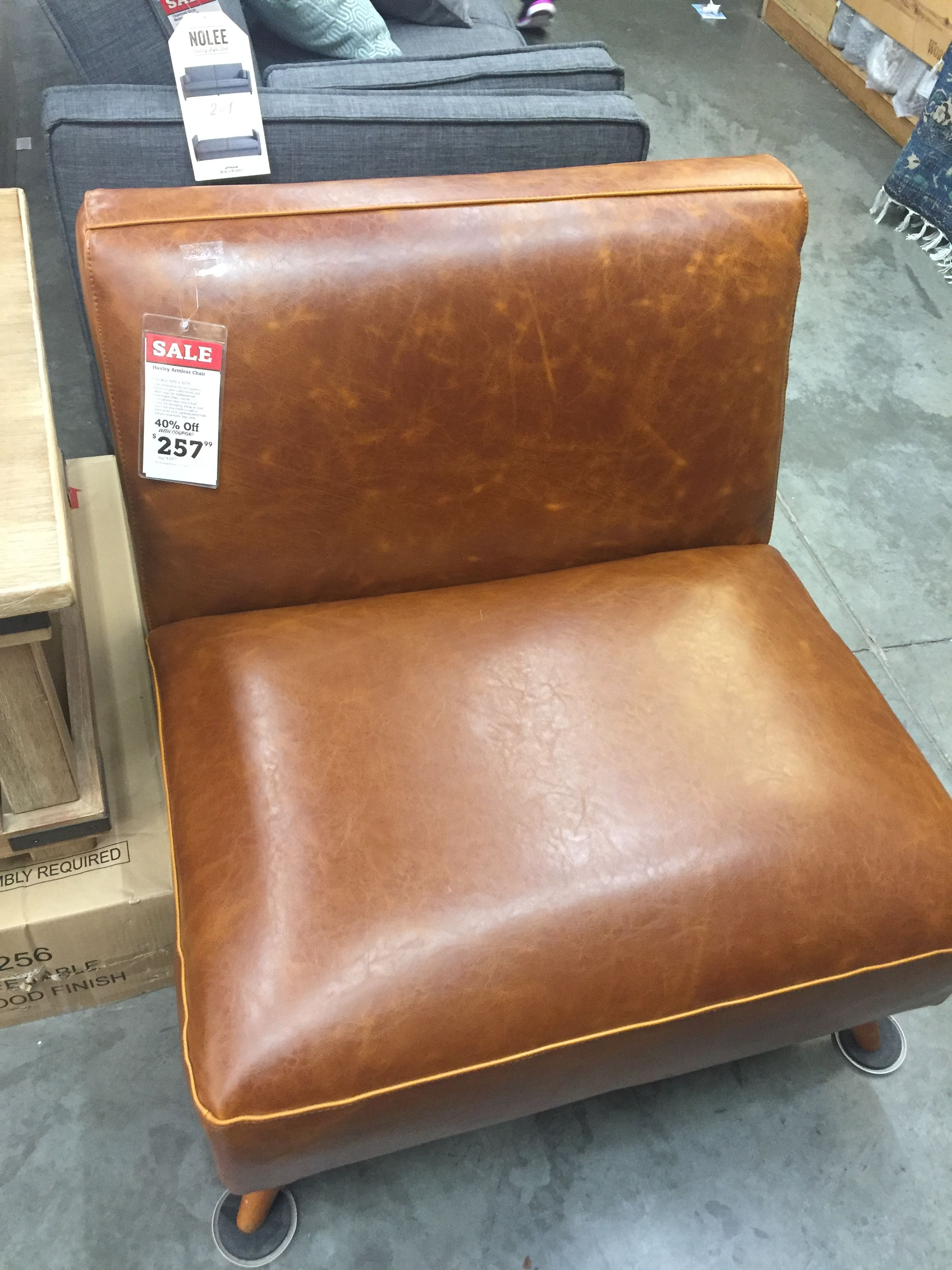 Huxley Armless Leather Chair From World Market