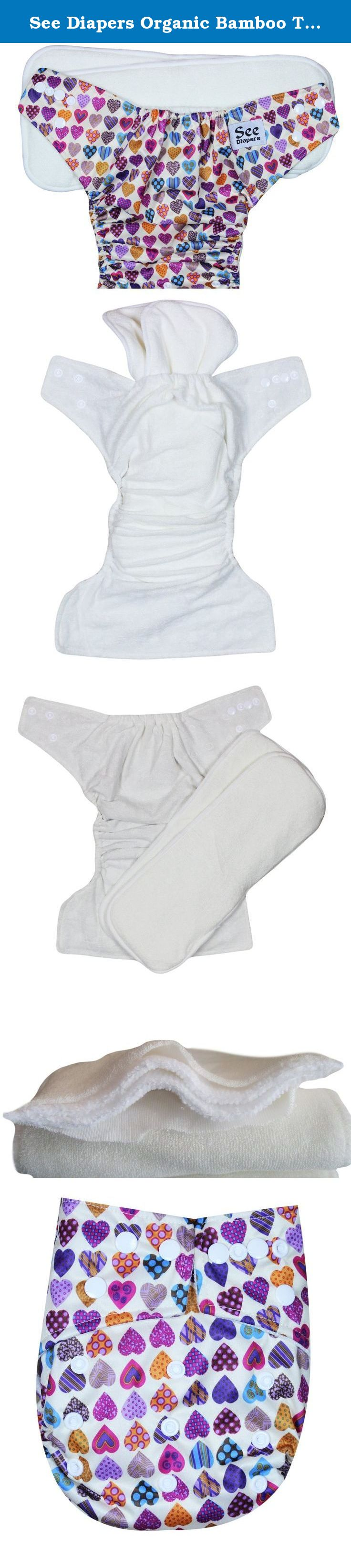 See Diapers Organic Bamboo Terry Baby Cloth Diaper - 2 Bamboo Inserts Hearts. This Organic Bamboo One Size Pocket Diaper consist of 2 parts: a waterproof outer shell + 2 large Grade A Organic bamboo inserts. The outer shell is made of high quality, durable and soft fabric. Laminated with the new and improved Thermoplastic Polyurethane (TPU), a composition specifically adapted to produce non-porous membranes exhibiting waterproof and water vapor transmissible. The result is a high…