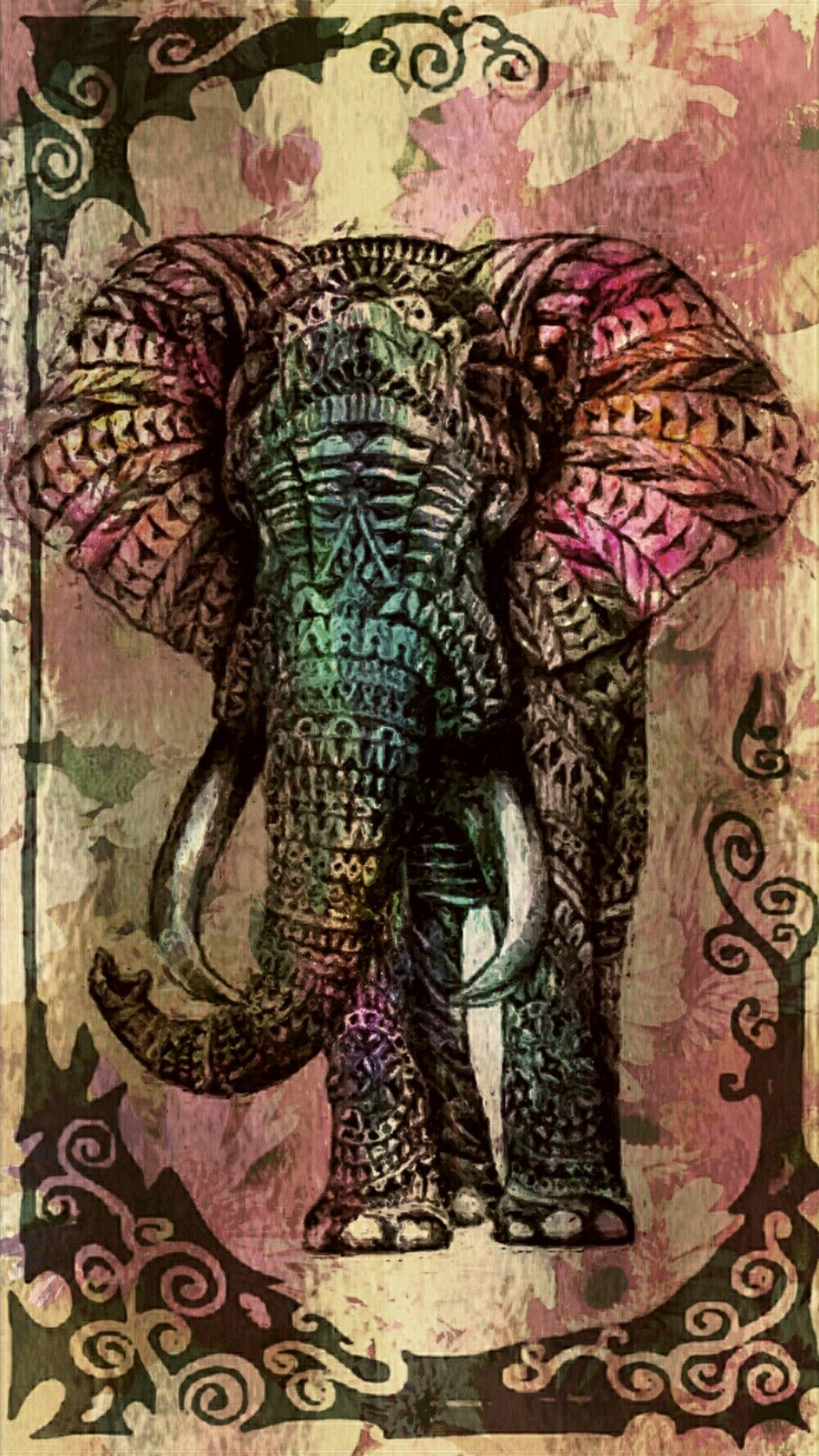 colorful tribal elephant wallpaper wwwpixsharkcom