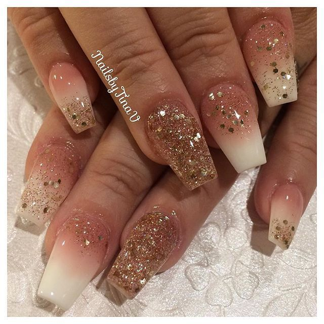 Repost Nailsbytinav Using P3 Whitest White From Tammytaylornails With A Custom R Rose Gold Nails Acrylic Gold Acrylic Nails Homecoming Nails Acrylic