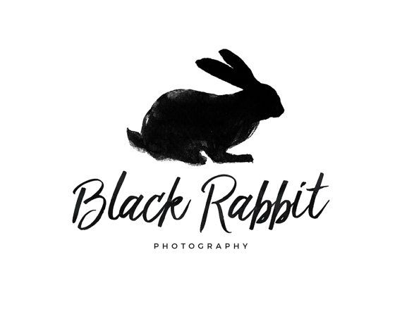 Black Rabbit Logo Watercolor Rabbit by CoffeeandInkDesign on Etsy - resume rabbit