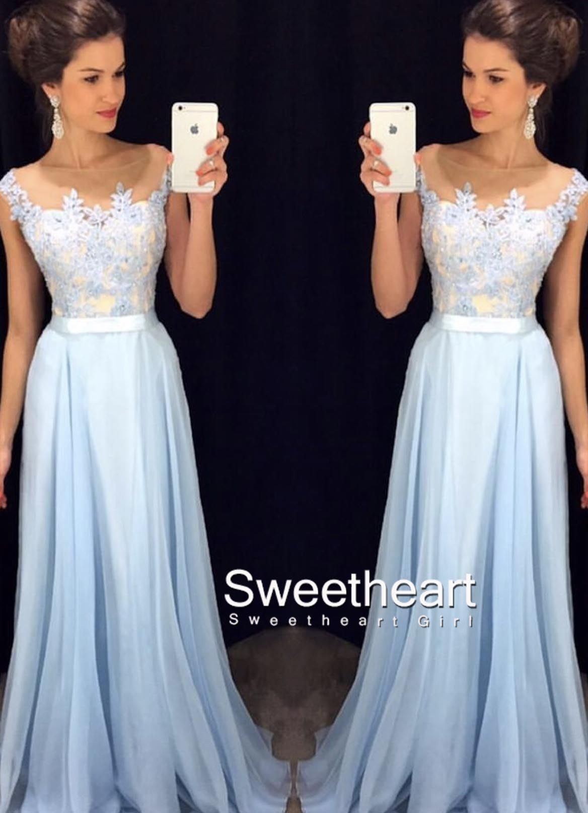 Aline round neck lace applique chiffon long prom dress formal